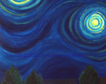 "Night Sky Blues 7"" x 10"" glossy original art print, aka Van Gogh Sky"