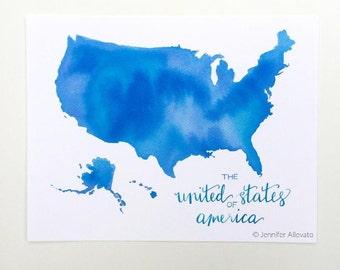 USA watercolor map america art print United States