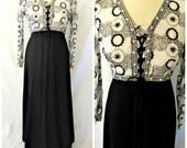 Vtg Mod '60s Maxi Dress Hostess Gown Empire Waist Dirndl Boho Embroidered Flower Power Beaded Bodice Black & White Color Block Sz 8