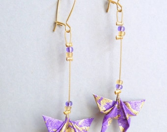 Purple and gold Butterfly Origami earrings