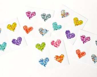 20 round glossy stickers with colorful hearts - envelope seals stickers