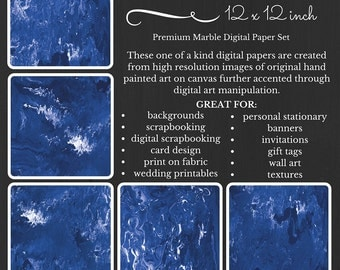 Edgy Blue Waves Premium Digital Paper Pack Marble Blue White Printable Paper Download Scrapbooking Paper Abstract Design EBWEV16