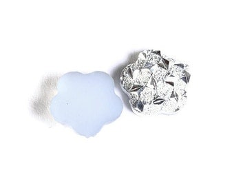 12mm Silver white flower resin cabochon - Faux druzy cabochon - Faux drusy cabochon - Textured cabochons (1624) - Flat rate shipping