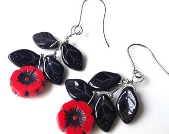 Black and Red Poppy Flower Red Poppy Earrings.  Red Flower Jewelry. Czech Red Jewelry.