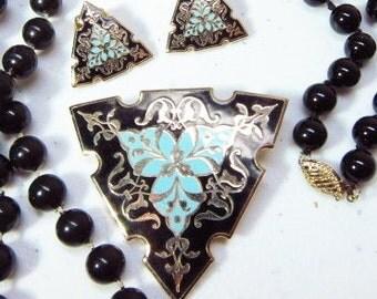 Vintage Jewelry Lot  Enamel Brooch Earrings Genuine Onyx Bracelet Bead Necklace