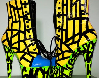 NEON GRAFFITI pink yellow stripes blue ombre fade UV reactive graphic Pleaser Adore lace up 7 inch stripper burlesque pole dance boots heels