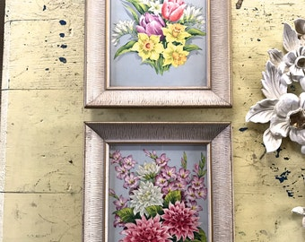 Vintage Pair of Framed Lithographic Floral Prints Mid Century Pastel Feminine Flower Bouquet Lithos Blue Pink Yellow Mums Gladiolus Tulips