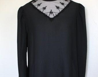 Vintage Sheer Black Blouse with Lace Neckline.