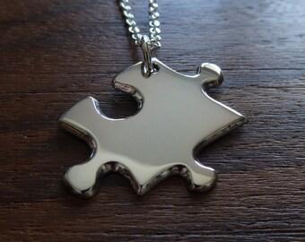 Silver Puzzle Piece Pendant Necklace