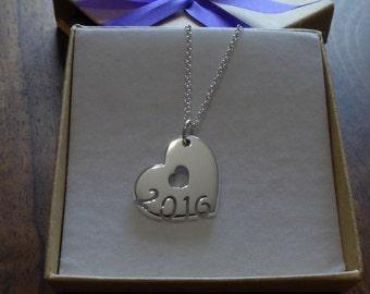 Silver Handmade Heart Date Pendant