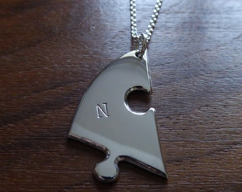 Handmade Silver Personalised Jigsaw Puzzle Pendant Necklace