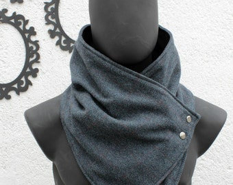 Mens scarf. Mens cowl scarf. Teal color, herringbone wool with metalic snaps . Trendy, modern, chunky  and cozy. gift for men,gift for women