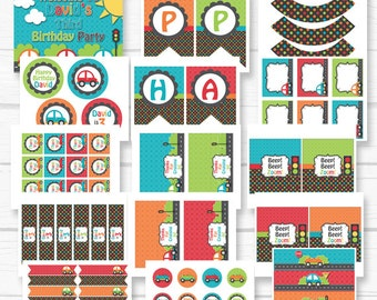 """Diy Cars """"Toot, Toot, Transportation"""" Boys Birthday Party Digital Printables Party Package"""