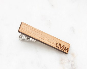 Monogrammed Tie Clip - Wood Tie Clip - 5th Anniversary Gift for Men - Gifts for Groomsmen -  Eco-Friendly Gift - Engraved Tie Bar for Groom