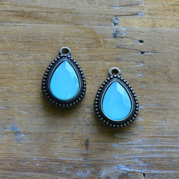 2 - AQUA BLUE Dyed Jade Teardrop Stone Charms 10x14mm Faceted Pear Drop Gem Set in 15x19mm Brass Setting Charm Antique Bronze (X013/R019)
