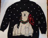Marisa Christina 1995 Christmas Collection Vintage Classic Polar Bears Sweater, Size XL