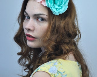 Flower Hair Clip Fascinator in Yellow, Pink and Turquoise