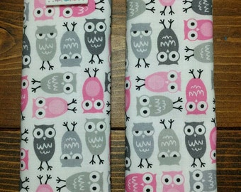 Reversible TODDLER Car Seat Strap Covers Ann Kelle Mini Owls in Pink with Pink Dimple Dot Minky Cuddle Baby Girl Accessories ITEM #139