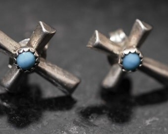 OLD Pawn Silver and Turquoise Cross Stud Earrings