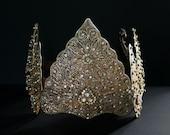 Vintage BRIDAL CROWN/Silver Indonesian Ceremonial HEADDRESS/Fairy Tale Bride/Glass/Rhinestone/Wedding/Editorial/Gift for Her