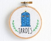 TARDIS hand embroidered h...