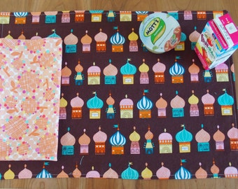 Children's Placemat and Napkin Set with Russian Onion Dome Houses, Lunchbox Placemat, Kid's Table Setting, Little Kulka, for Food Allergies