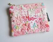 Pink patchwork zipper pouch