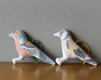 Embroidered Bird Plushies