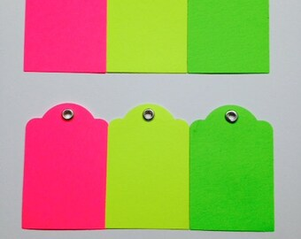 Neon Gift Tags ~ Set of 12 ~ Plain ~ Silver Eyelet