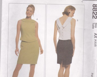 Unusual Dress Pattern McCalls 8822 Sizes 4 6 8 Uncut