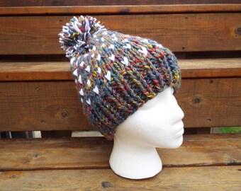 Fair Isle knit hat, Knit hat, Crochet Hat, gray, white, rainbow, pride hat, bobble hat, pom pom hat, herringbone hat