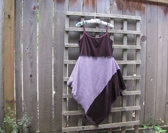 Purple Stretch Velvet Pixie Tank Dress Lagenlook Upcycled/ Funky Asymmetrical Tattered Eco Blouse/ Hi Lo Womens Tops XS/S