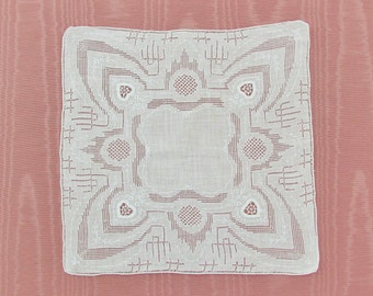 Vintage linen hanky with elaborate drawnwork, handkerchief with embroidered hearts, embroidered white linen wedding hankie