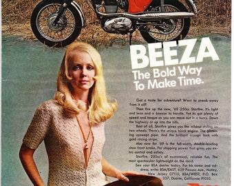 Vintage Original Magazine Advertisement 1969 BSA Motorcycle Beeza  - Wall Art - Wall Decor - Man Room - Starfire - Vintage Motorcycle - Bike