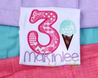 Ice Cream Birthday Shirt - Girls Birthday Shirt - Summer Birthday Shirt - Ice Cream Party Shirt - Ice Cream Shirt - Summer Shirt - Girls