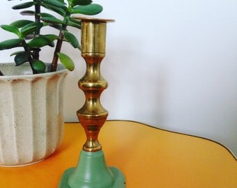 Vintage Up Cycled Pastel Green Candle Stick