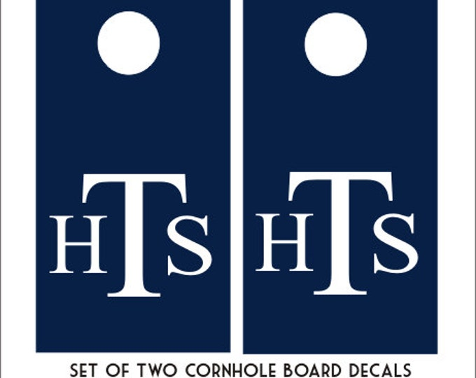 Monogram Cornhole Decals Set of Two Cornhole Board Game Decals Wedding DIY Decals Wedding Decor Personalized Bean Toss Board Decals Vinyl