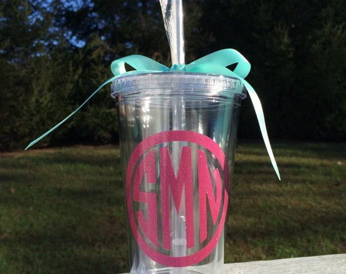Glitter Monogram Tumbler Glitter Circle Monogram Cup Acrylic Cup with Staw and Lid Personalized Cup Preppy Monogram Cup Christmas Gift