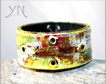 Leather Cuff | Colorful Leather | Leather Bangle | Leather Accessories | Womens Leather Bracelet | Womens Leather Cuff | Leather Jewelry