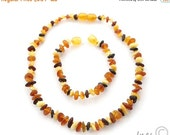 15% OFF THRU JUNE Raw Unpolished Multi Color Baltic Amber Baby Teething Necklace and Bracelet/Anklet