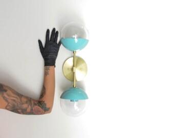 Modern Brass Light - Duel modern Aqua + Brass wall sconce with glass globes - Delphine