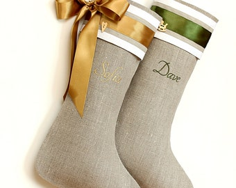 Personalized Christmas stockings linen Stockings with Embroidered name Cuff stockings Holidays decoration