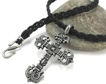 Hemp Cord Necklace, Cross Pendant - Filigree Cross Necklace, Custom Hemp Jewelry