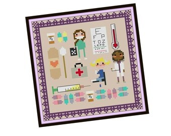 Kawaii Doctor Cross Stitch Pattern - Pixel People Cross Stitch Pattern - Girls Cross Stitch - Easy Cross Stitch Pdf