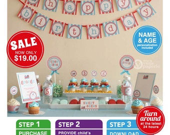 Vintage Choo-Choo Train Birthday Party Package Personalized FULL Collection Set - PRINTABLE DIY - PS802CA1x