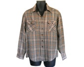 Vintage Men Flannel Shirt Plaid Flannel Brown Shirt Retro Shirt Grunge Flannel Shirt Lumberjack Flannel Men Clothes Men Clothing Button Up