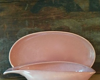 Russel Wright Coral Gravy Boat and Liner, American Modern by Steubenville