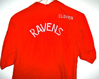 Vintage bowling shirt embroidery on front and back Ravens