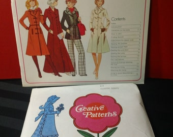 Classic Coats ~ Creative Patterns Vintage 1977 Softcover Instructional Sewing Booklet and Uncut Pattern
