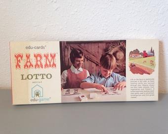 Vintage Game, Farm Lotto, Vintage Board Game, Vintage Matching Game, Educards Game